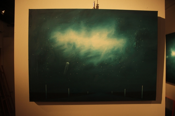 Medusas y nebulosas (2014), 50cm X 70cm, oil on canvas, Sabiana Paoli Art Gallery
